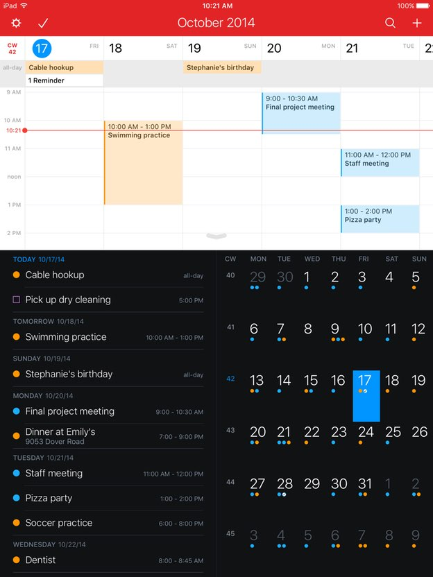 Fantastical 2 Dark Theme
